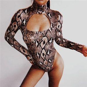 Sexy snake print body suit long sleeve mock neck S